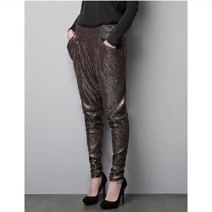 Zara • Gold Sequin Joggers Skinny Leg Harem Pants